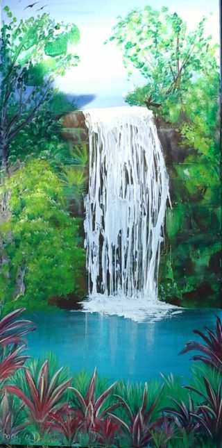 An Acrylic painting by Tracey L Dawes in the Impressionist style  depicting Trees Bush Rocks and Rural with main colour being Blue Green and White and titled Atherton Waterfall