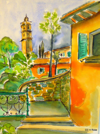 A Watercolour painting by Valarie  Ross in the Contemporary Realist style  Buildings with main colour being Gold Orange and Yellow and titled Villa in Barga