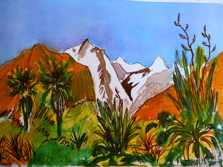 Painting by Valarie  Ross titled Mtns from Glenorchy New Zealand