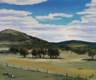 An Acrylic painting by Dawn Lim in the Impressionist style  depicting Landscape Bush Hills and Rural with main colour being Blue Green and Ochre and titled Pyrenees Hills