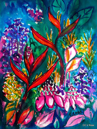 A Watercolour painting by Valarie  Ross in the Contemporary Realist style  depicting Flowers with main colour being Blue Green and Red and titled Into the secret garden