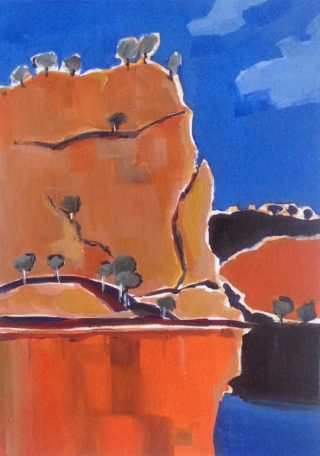 An Acrylic painting by Annee Kelly in the Contemporary style  depicting Landscape Outback Rocks and Water with main colour being Blue and Orange and titled Katherine Gorge, NT