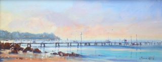An Acrylic painting by Annee Kelly in the Impressionist style  depicting Landscape Boats Jetty and Water with main colour being Blue and Pink and titled Approaching Dusk