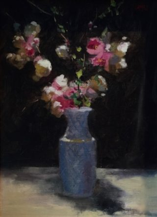 An Oil painting by Don James in the Realist Impressionist style  depicting Flowers and Vases with main colour being Black Blue and Cream and titled Apple Blossom Japonica