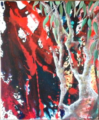 An Acrylic painting by Tracey L Dawes in the Abstract Impressionist style  depicting Bush and Outback with main colour being Blue Green and Orange and titled Gum Forrest