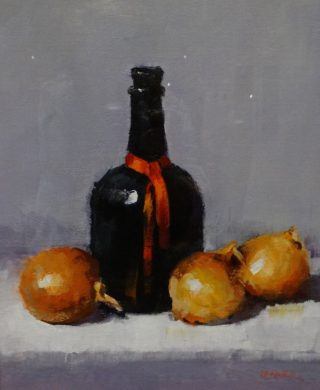 An Acrylic painting by Joan Denner in the Impressionist style  depicting Still Life Bottles and Food with main colour being Black Grey and Ochre and titled Still Life - Onions