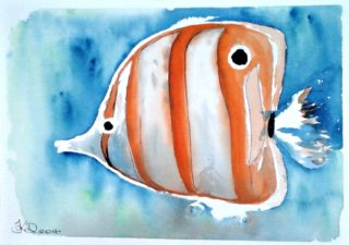 A Watercolour painting by Tracey L Dawes in the Impressionist style  depicting Animals Fish and Tropical with main colour being Blue Orange and White and titled Orange Angel