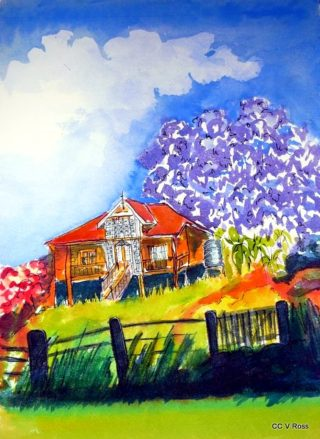 A Watercolour painting by Valarie  Ross in the Contemporary Realist style  depicting Landscape Buildings with main colour being Blue Purple and Red and titled Old Queenslander