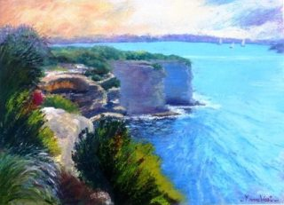 An Acrylic painting by Yvonne West in the Realist style  depicting Landscape Water with main colour being Blue Green and Purple and titled The Gap- Watsons Bay