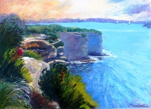 Acrylic Painting by Yvonne West titled The Gap- Watsons Bay