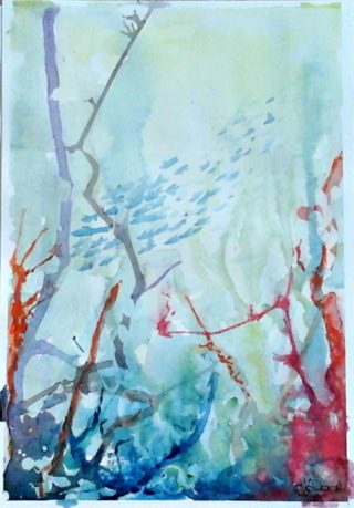 A Watercolour painting by Tracey L Dawes in the Abstract Impressionist style  depicting Seascape Garden Sea and Tropical with main colour being Blue Orange and Red and titled Underwater Forrest