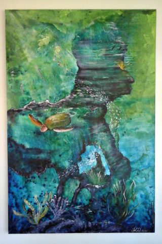 An Acrylic painting by Tracey L Dawes in the Impressionist style  depicting Water Animals Fish and Tropical with main colour being Blue Green and Purple and titled Underwater Garden