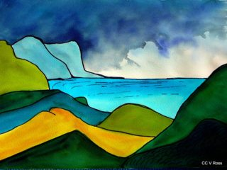 A  painting by Valarie Ross Mountains and titled Landscape 2