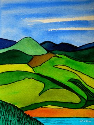 A  painting by Valarie Ross Mountains and titled Landscape 4