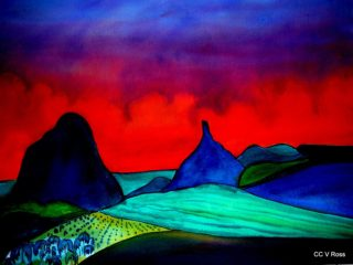 A  painting by Valarie Ross Mountains and titled Landscape 5
