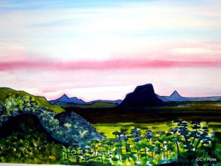 A Watercolour painting by Valarie Ross in the Contemporary style  depicting Landscape Bush Mountains and Sunset with main colour being Blue Green and Pink and titled Sunshine coast sunset