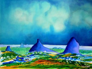 A  painting by Valarie Ross Mountains and titled Landscape 1