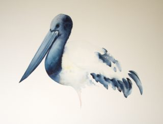 A Watercolour painting by Nadine Dudek in the Realist Impressionist style  depicting Animals Birds with main colour being Blue Ochre and White and titled Jabiru