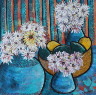 An Acrylic painting by Julie Rooney in the Semi-Abstract style  depicting Flowers with main colour being Blue and White and titled White Daisies