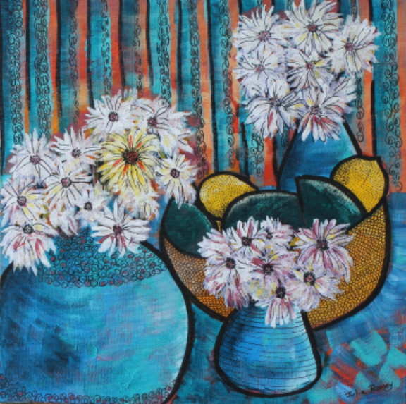 Acrylic Painting by Julie Rooney titled White Daisies