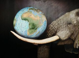 An Acrylic painting by Angela Parr in the Realist style  depicting Animals with main colour being Blue and Grey and titled Only an Elephant Needs Ivory?