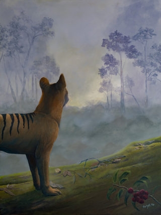 An Oil painting by Hazel Howie in the Realist style  depicting Animals Bush and Sunrise with main colour being Brown Green and Purple and titled Untitled