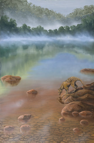 An Oil painting by Hazel Howie in the Realist style  depicting Animals Bush and Lake with main colour being Brown and Green and titled Where The Wild Things Are