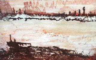 A  painting by June McCotter depicting Landscape Boats with main colour being Brown Grey and Pink and titled Shipwreck