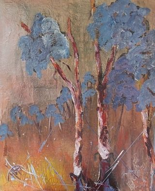 A  painting by June McCotter in the Semi-Abstract style  depicting  Outback and Trees with main colour being Blue Grey and Orange and titled Alcheringa