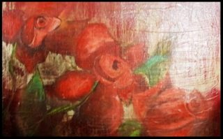 A  painting by June McCotter depicting Flowers with main colour being Black Pink and Red and titled Red Roses