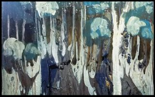 A  painting by June McCotter in the Semi-Abstract style  depicting Trees with main colour being Blue and Grey and titled Found Found