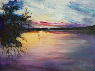 An Acrylic painting by Kathy Karas in the Impressionist style  depicting Landscape Sunset with main colour being Black Blue and Purple and titled Sunset