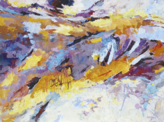 An Acrylic painting by Ekaterina Mortensen in the Abstract Expressionist style  depicting Landscape Buildings with main colour being Ochre Purple and White and titled Roman Relicts 1
