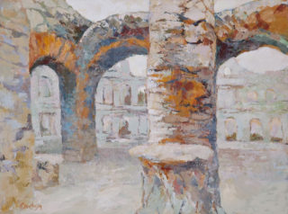 An Acrylic painting by Ekaterina Mortensen in the Abstract Expressionist style  depicting Buildings with main colour being Brown Grey and Ochre and titled ROMAN RELICTS ARCHES