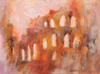 An Acrylic painting by Ekaterina Mortensen in the Abstract Expressionist style  depicting Buildings with main colour being Brown Ochre and Pink and titled ROMAN RELICTS No. 3