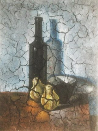 An Acrylic painting by Naji Sassine depicting Still Life Bottles and Fruit with main colour being Blue Brown and Grey and titled Bottle with Pear Still Life