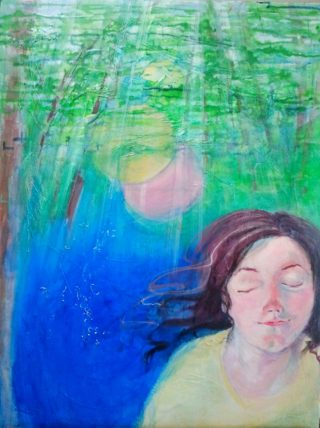 A  painting by Heather Lorenzon in the Contemporary Realist style  depicting Man Trees Tropical and Water with main colour being Blue and Green and titled Personal Peace