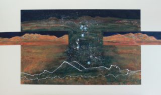 An Acrylic painting by Heather Lorenzon in the Contemporary Realist style  depicting Desert Night and Outback with main colour being Black Brown and Gold and titled Star Gazing over the Flinders Ranges