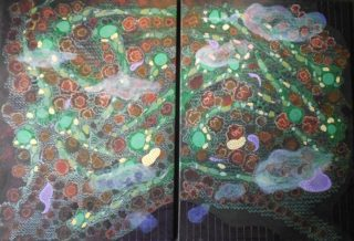 An Acrylic painting by Pippa Newby depicting  and titled Diptych