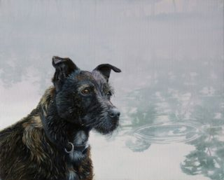 An Oil painting by Hazel Howie in the Realist style  depicting Animals Dogs and River with main colour being Grey and titled 'Sandy'