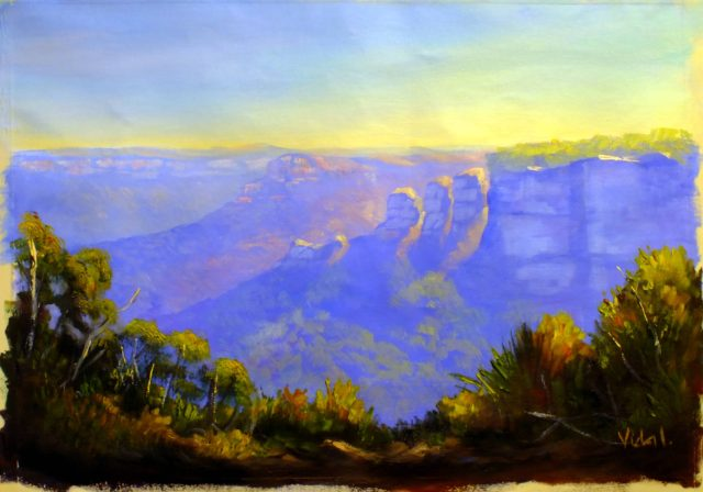 Acrylic Painting by Christopher Vidal titled Mid afternoon on Three Sisters from Leura