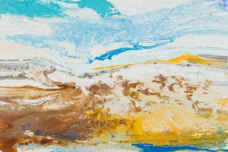 An Acrylic painting by William Holt in the Abstract style  depicting  with main colour being Blue Brown and Yellow and titled Absolute