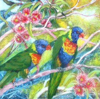 An Acrylic painting by Yvonne West in the Realist style  depicting Animals Birds with main colour being Blue Green and Pink and titled Lorikeets