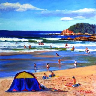 An Acrylic painting by Yvonne West in the Realist style  depicting Beach Water and Waves with main colour being Blue Green and Olive and titled Fairy Bower Beach