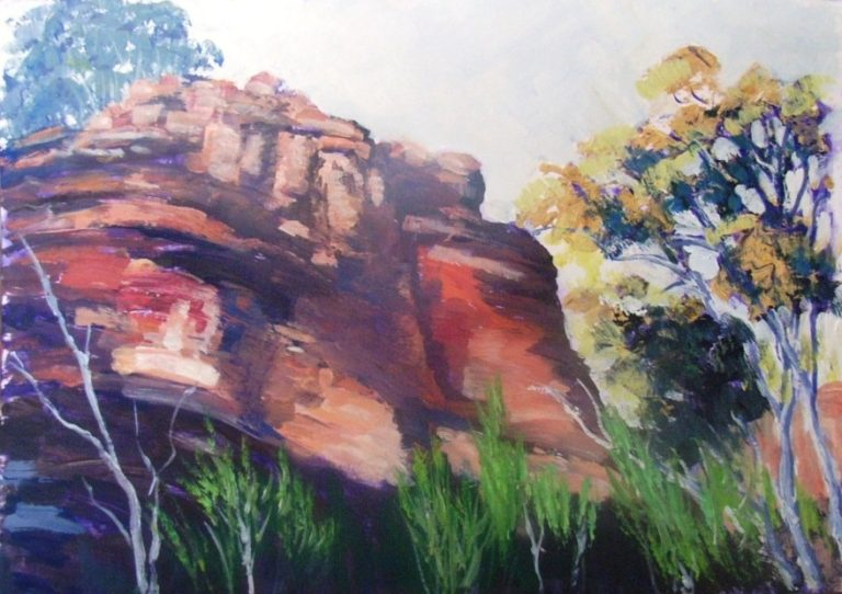 Acrylic Painting by Yvonne West titled Rock Outcrop Flinders Ranges