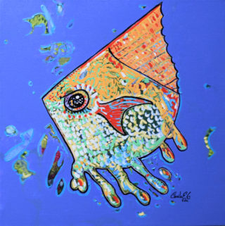 An Oil painting by Camilo Esparza in the Contemporary style  depicting Animals Fish and Sea with main colour being Blue and Yellow and titled Jakey fish
