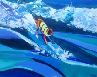 An Acrylic painting by Janette Humble in the Contemporary style  depicting Beach Animals and Dogs with main colour being Blue White and Yellow and titled King of the Board