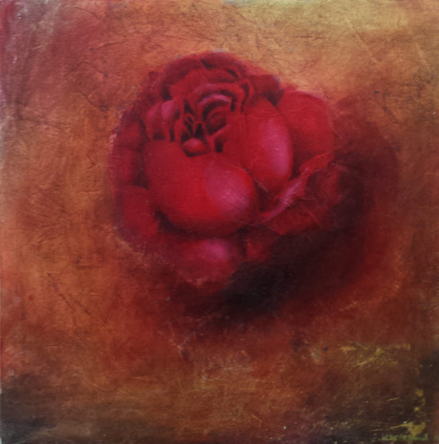 Oil Painting by Christopher McClelland titled Burnt earth and Rose #2