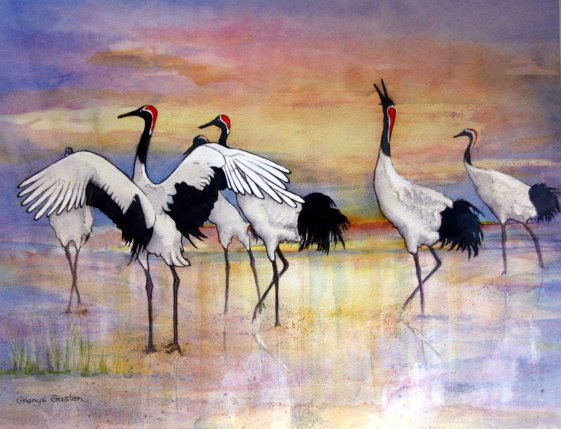 Watercolour Painting by Glenys Gaston titled Japanese Dancing Cranes