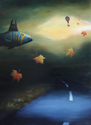 An Oil painting by Christopher McClelland in the Surrealist style  depicting  Buildings Desert and Fish and titled Chartres Cathedral over the Great Eastern Highway